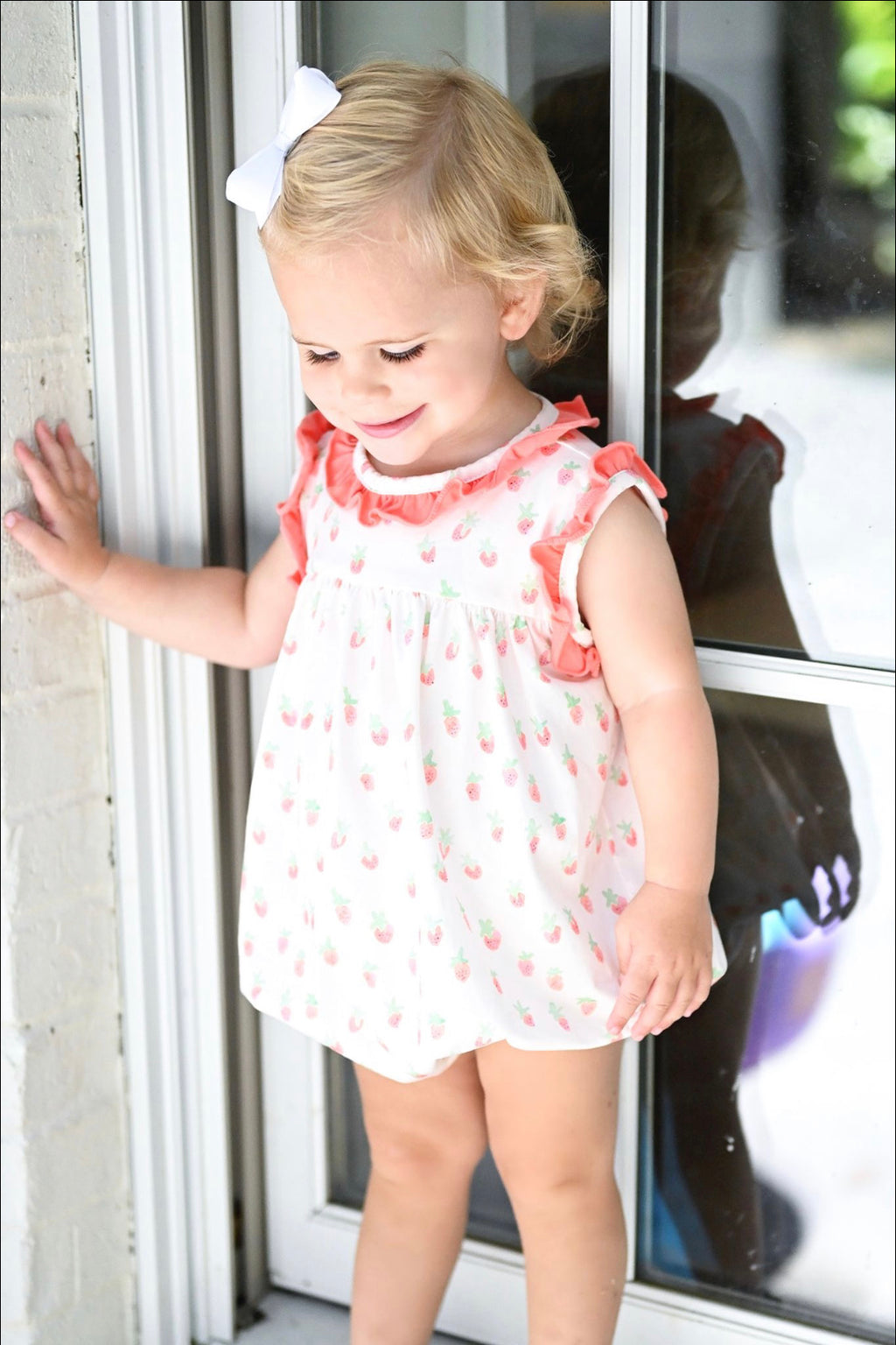 Pre-Order Rosie Bubble - Strawberry Knit with Coral Trim - Born Childrens Boutique