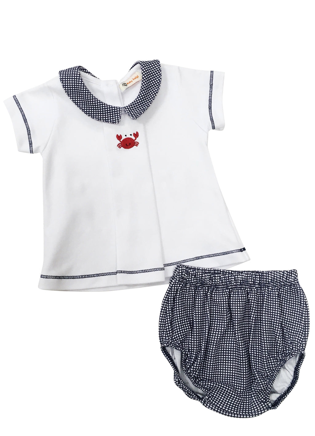 Boy White with Navy Gingham Knit Bloomer Set - Crab - Born Childrens Boutique