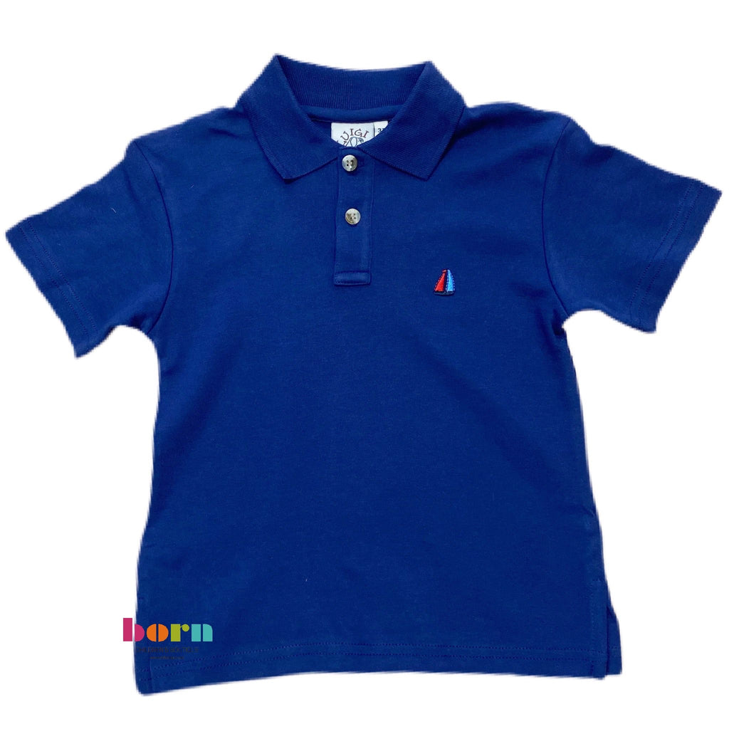 Boy S/S Polo Sailboat Dark Royal - Born Childrens Boutique