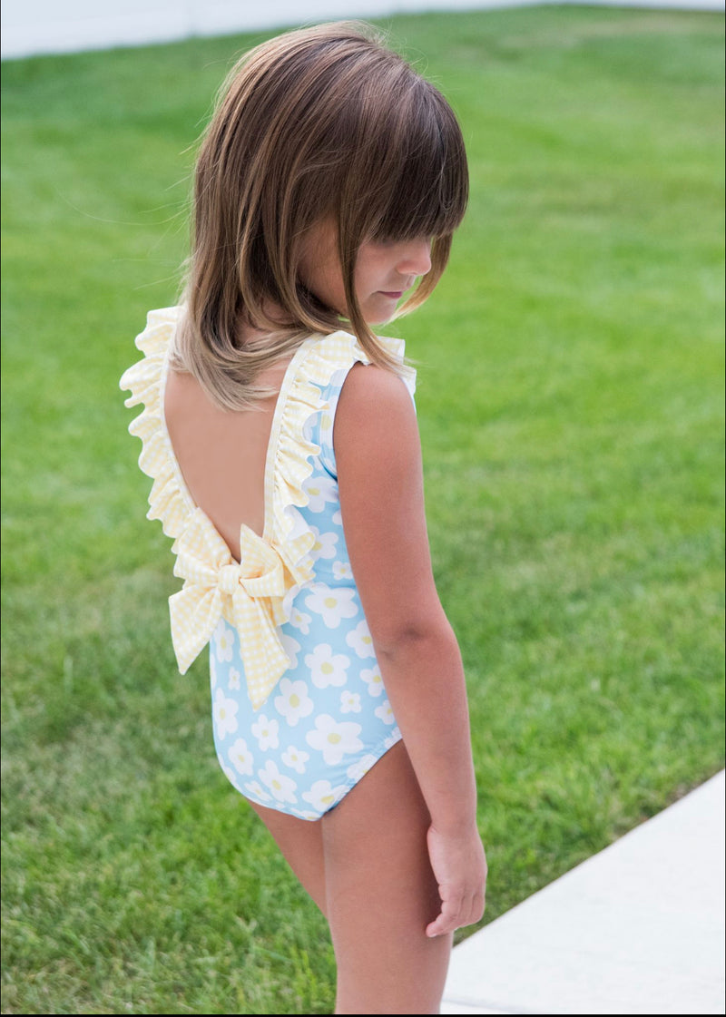Pre-Order Tess Ruffle Swim Suit - Daisy with Yellow Check - Born Childrens Boutique