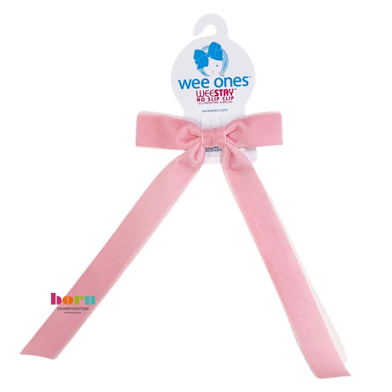 Wee Ones Blush Velvet Bow with Tail - Born Childrens Boutique