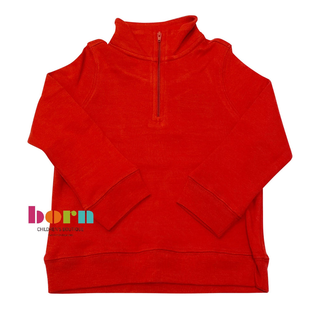 Deep Red Zip Pullover - Born Childrens Boutique