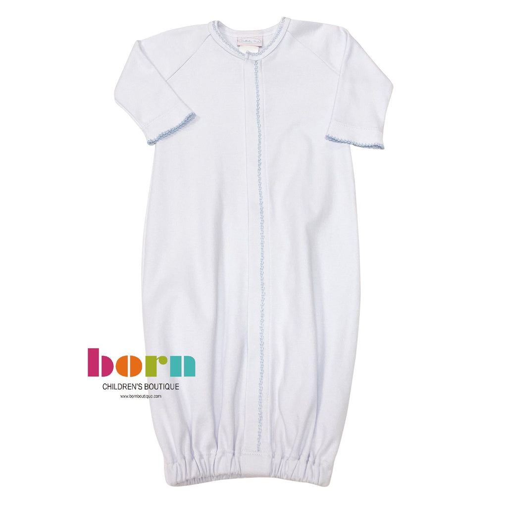 Knit Saque White w/ Blue Feather Stitch - Born Childrens Boutique