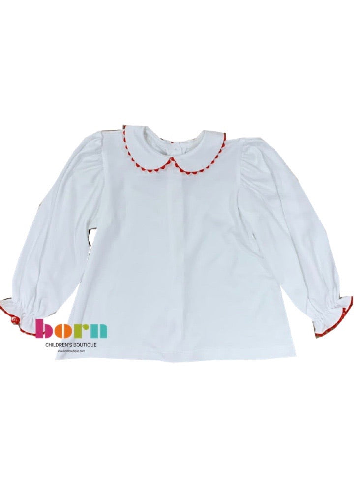 Better Together Blouse L/S - White Pima Knit w Red Ric Rac - Born Childrens Boutique