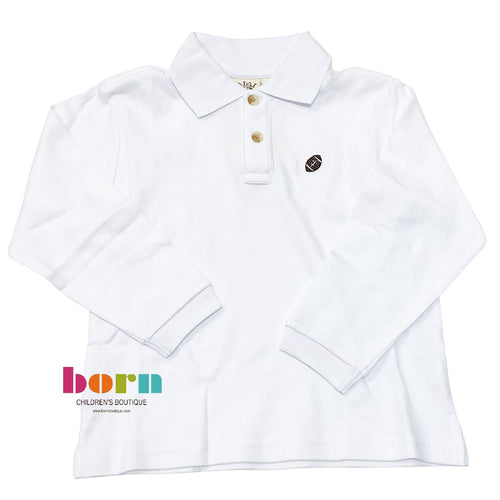 Long Sleeve Polo White w/ Football Embroidery