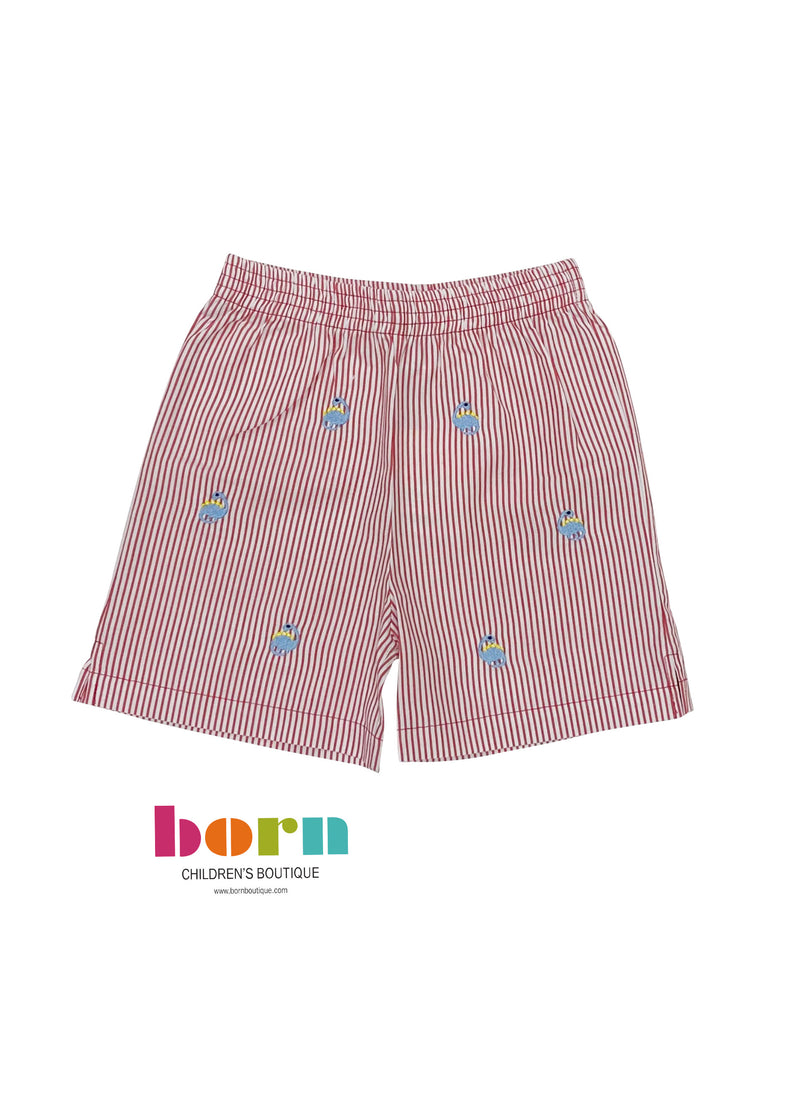 Red Seersucker Shorts w/ Dino Embroidery - Born Childrens Boutique