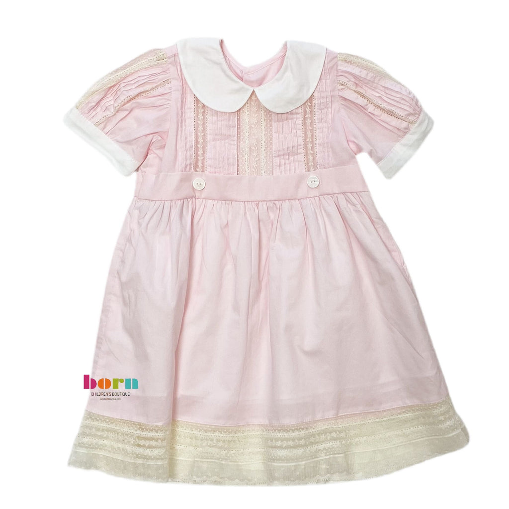 Pink Riley Dress with Ecru Lace - Born Childrens Boutique