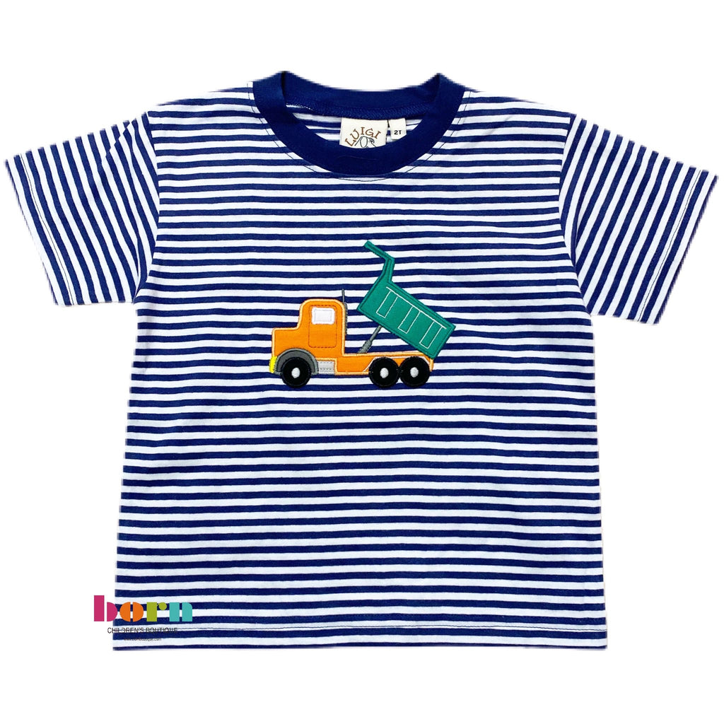 Boy S/S T-Shirt Dump Truck Dark Royal/Wht - Born Childrens Boutique
