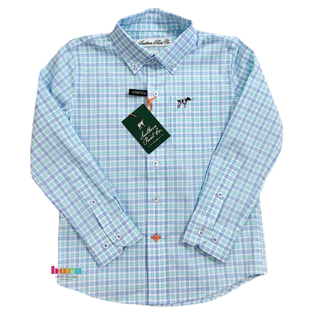Aqua Plaid Hadley Buttondown - Born Childrens Boutique