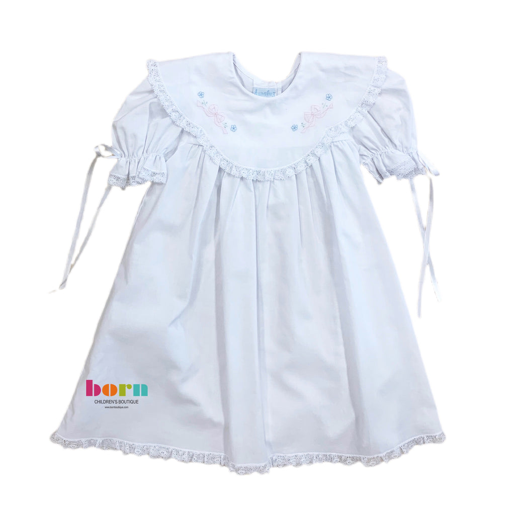 Dress with White Lace and Pink Tiny Bow - Born Childrens Boutique