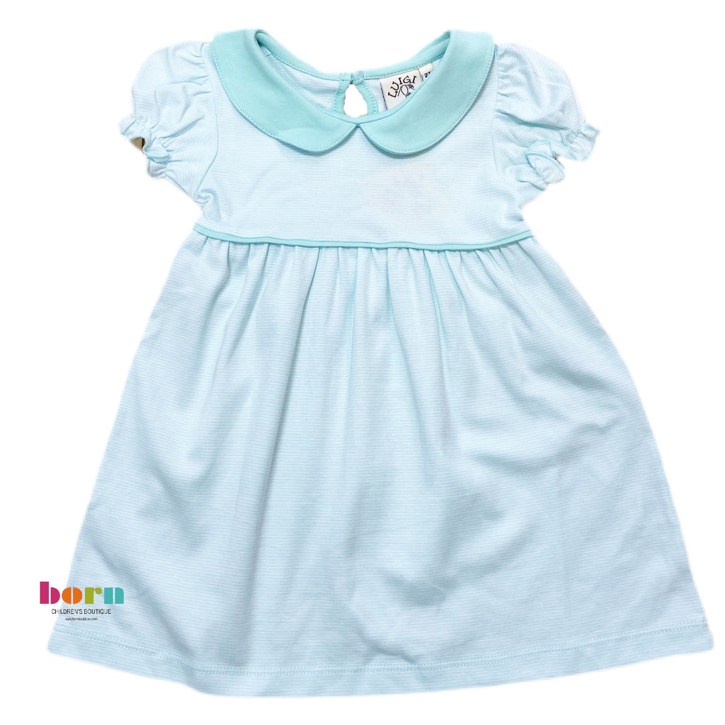 Cap Sleeve Gathered Dress Jade Thin Stripe - Born Childrens Boutique