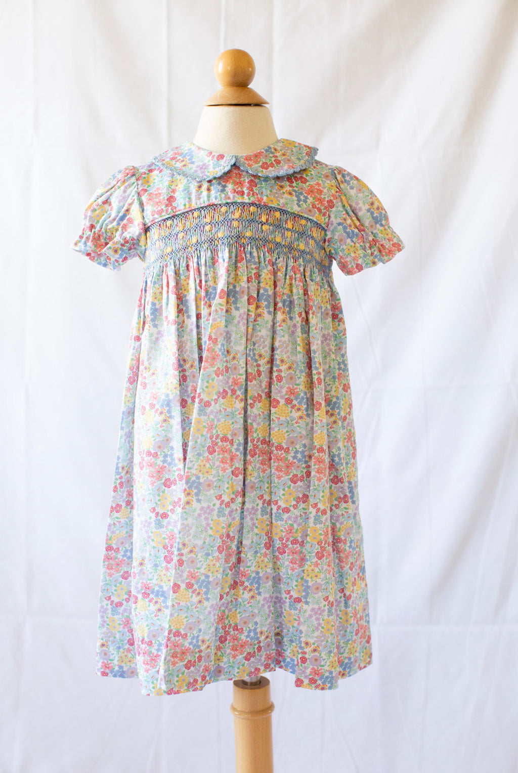 Short Sleeve Smocked Day Dress - Churchill Floral - Born Childrens Boutique