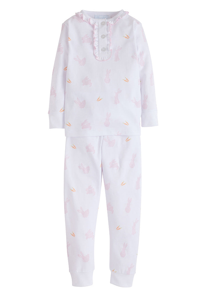 Girl Printed Pajamas - Pink Bunny - Born Childrens Boutique