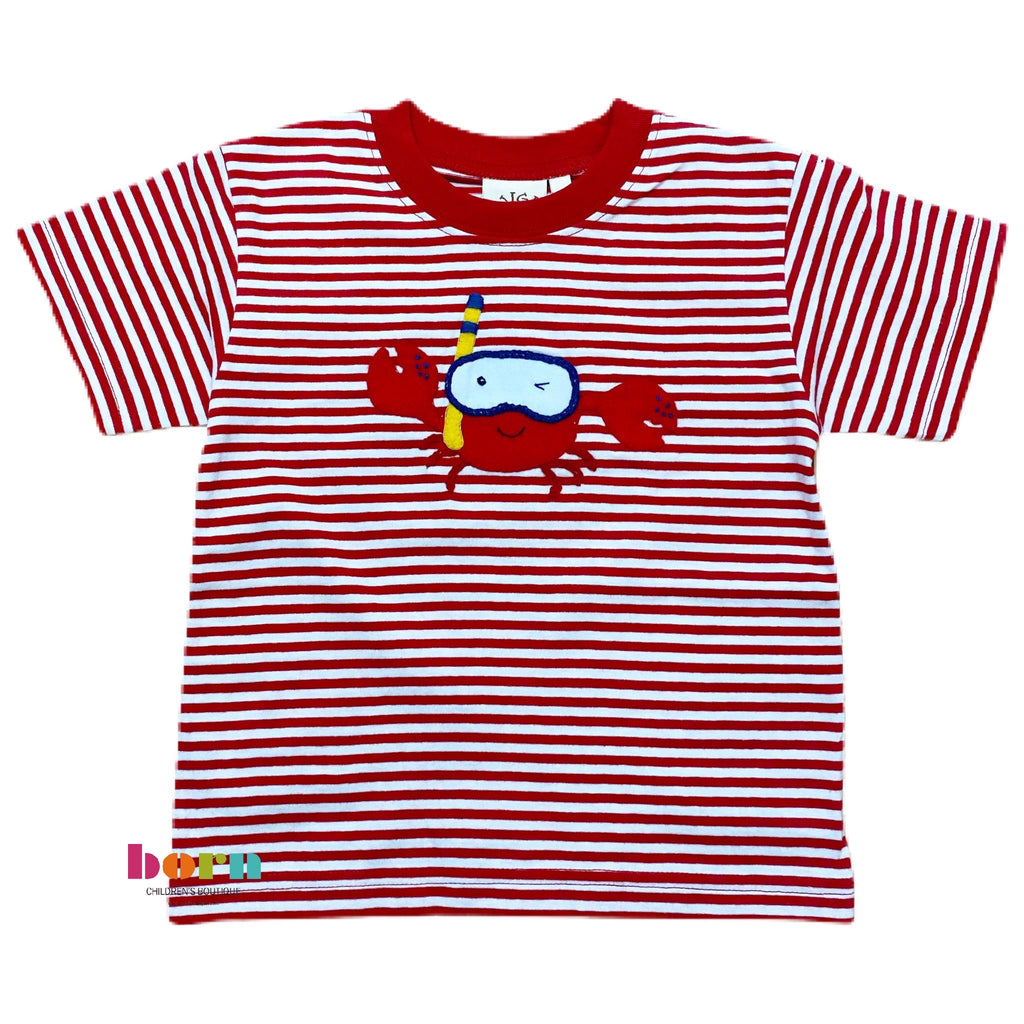 Boy S/S T-Shirt Snorkeling Crab DpRed/Wht - Born Childrens Boutique