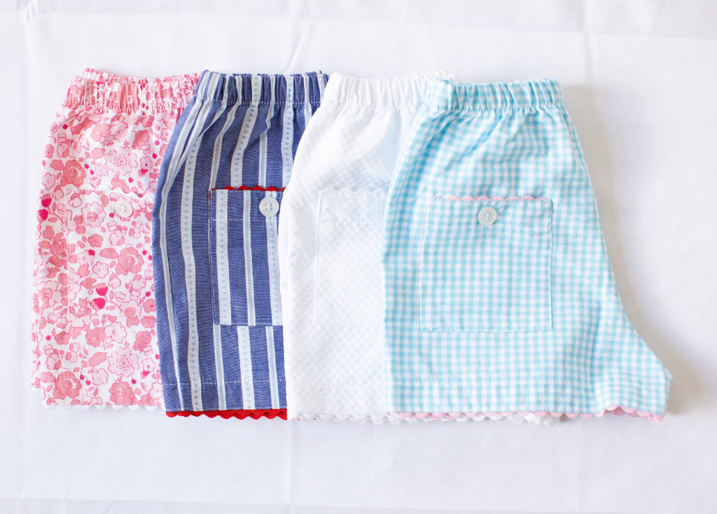Girls Two Pocket Short - Pond Gingham - Born Childrens Boutique