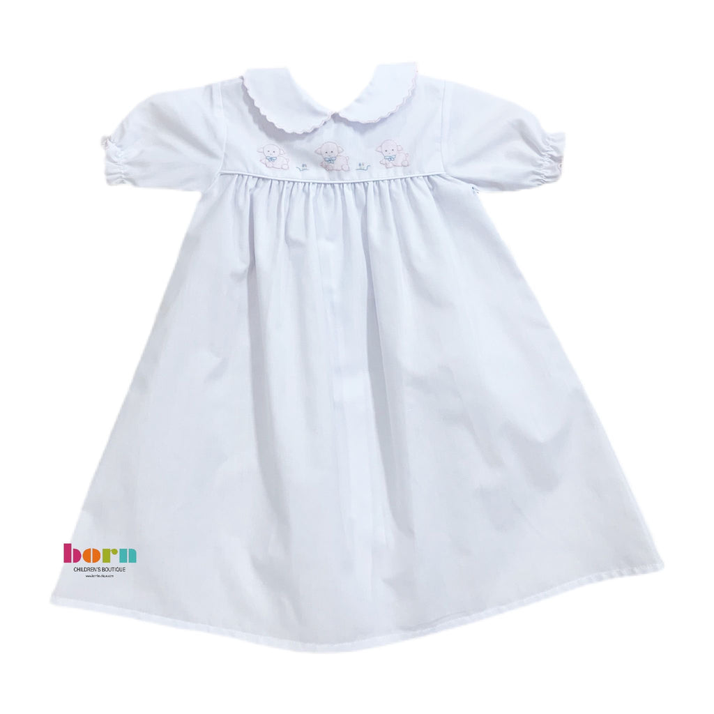 Auraluz Gown White with Pink Lamb - Born Childrens Boutique