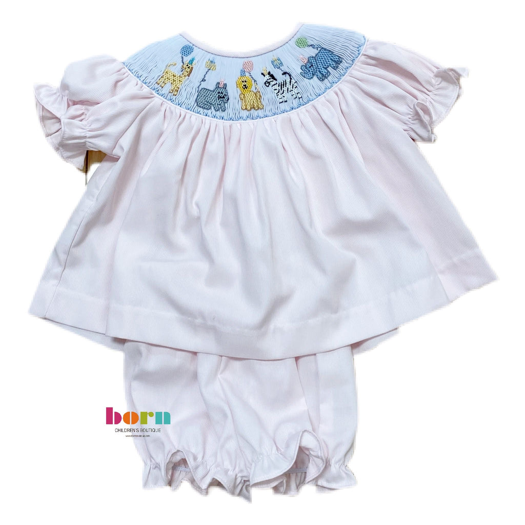 Smocked Animal Birthday Smocked Bloomer Set - Born Childrens Boutique