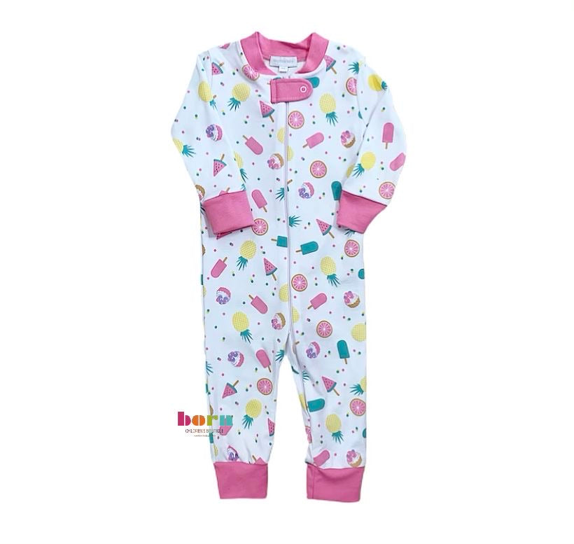 Fruit Pops Pink Zipped Pajama - Born Childrens Boutique