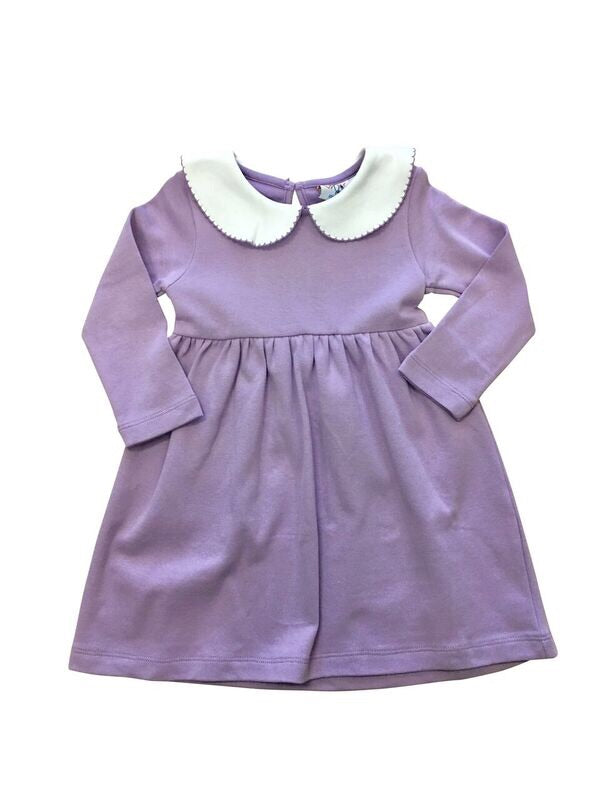 Gathered Peter Pan Dress Lavender - Born Childrens Boutique