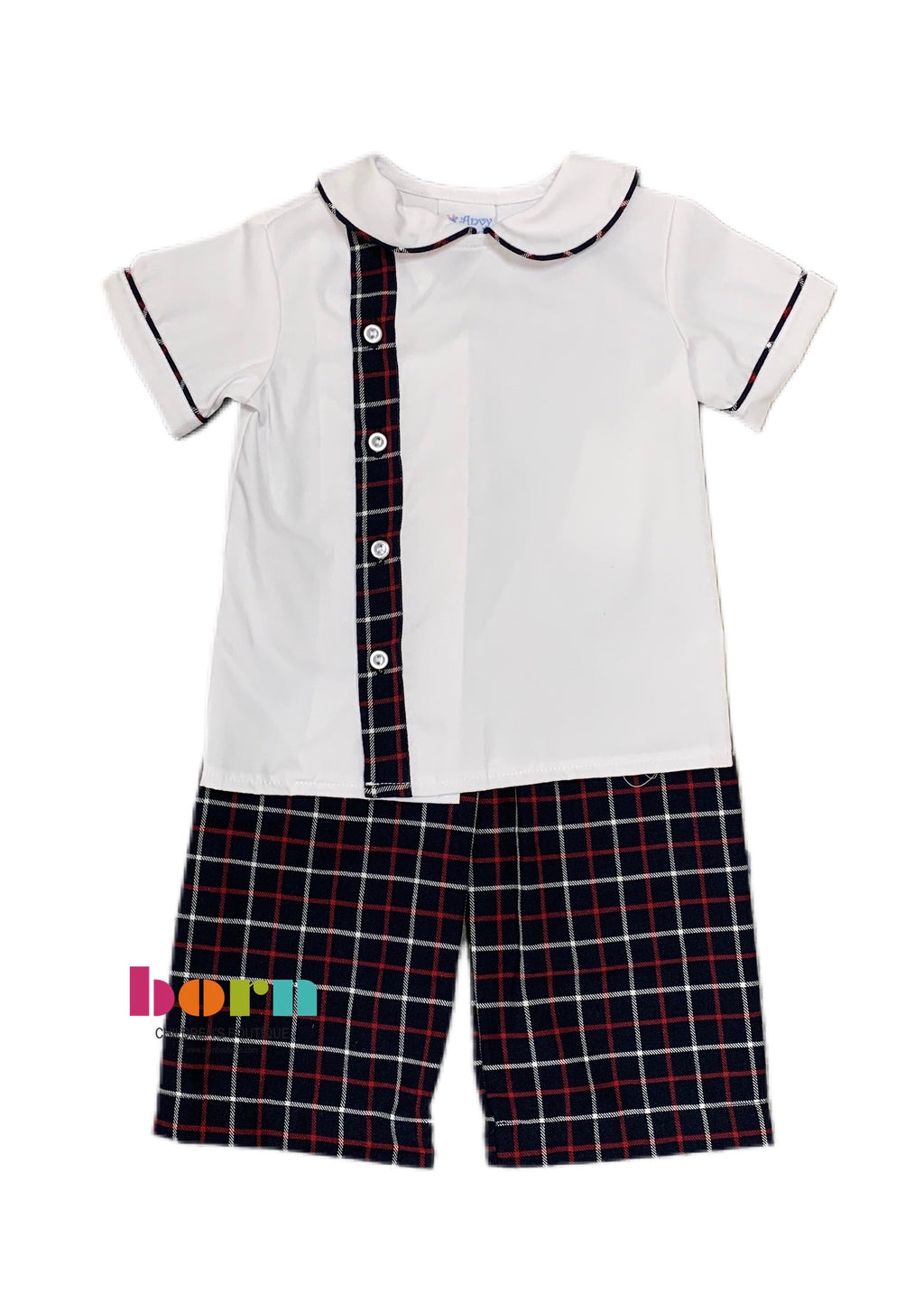 Thomas Boy Set - Navy Twill Plaid - Born Childrens Boutique