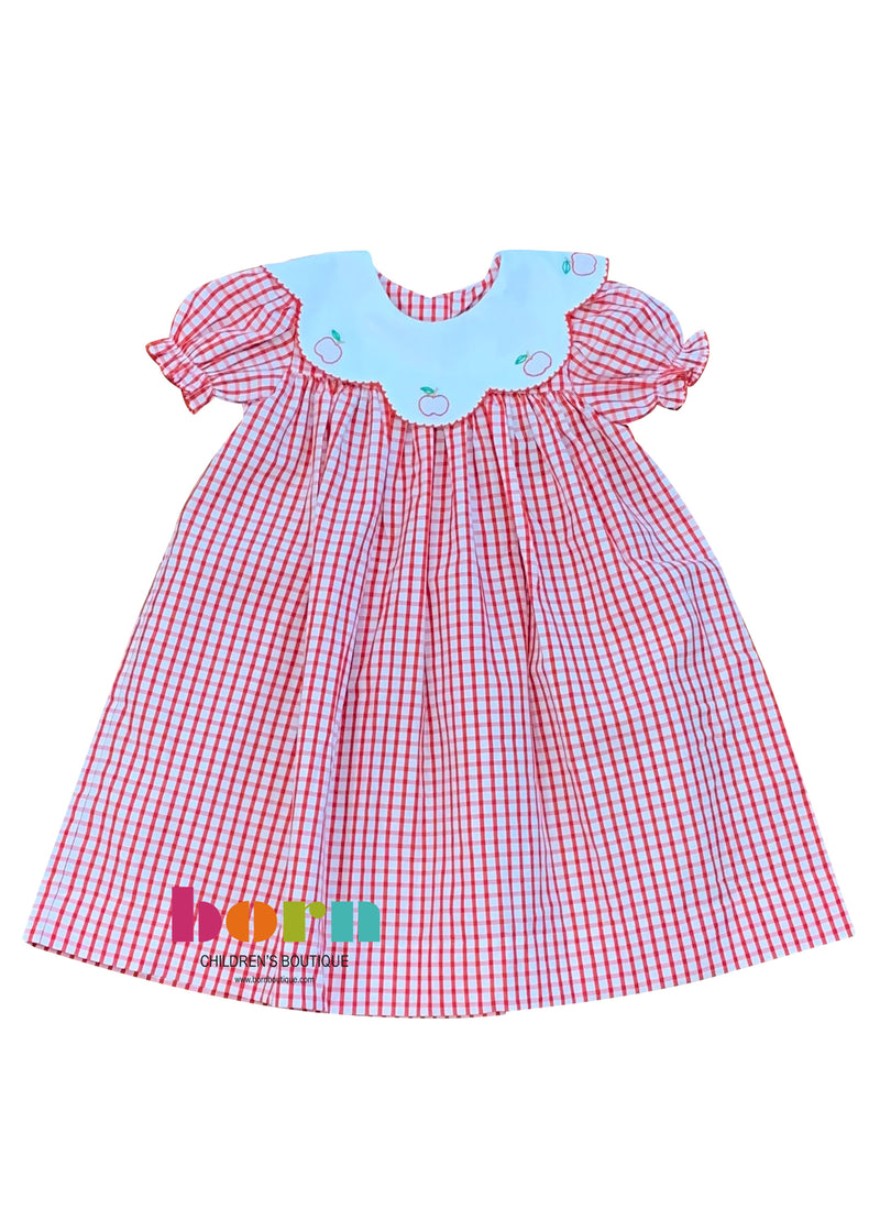 Apple Emb Dress - Born Childrens Boutique
