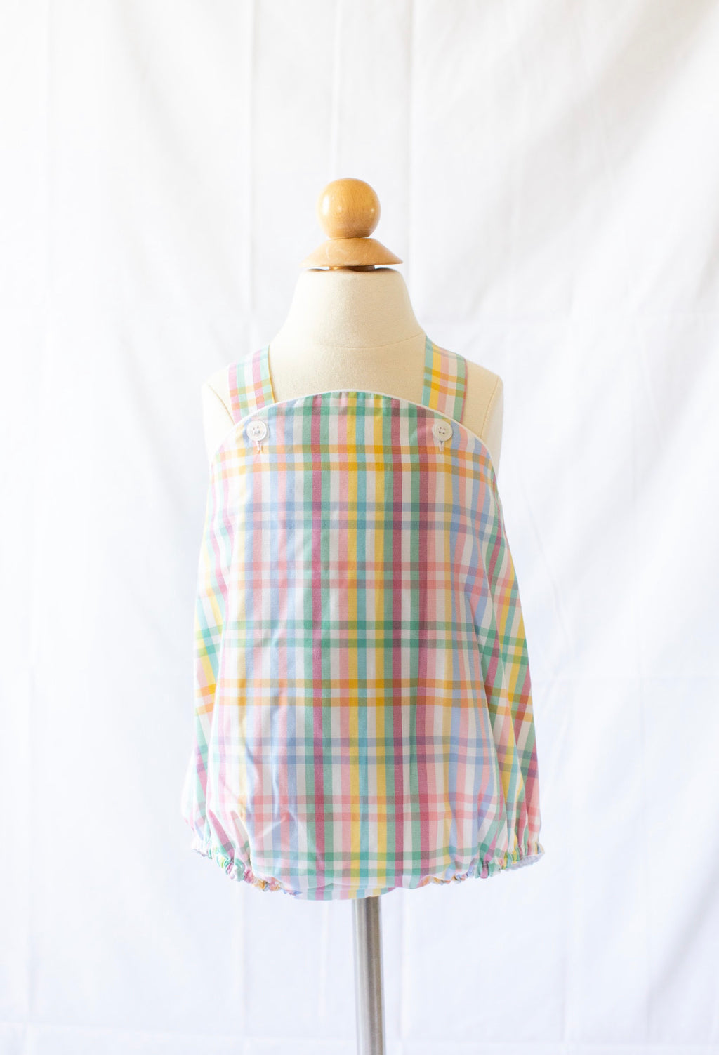 Cross Back Bubble - Abaco Plaid - Born Childrens Boutique