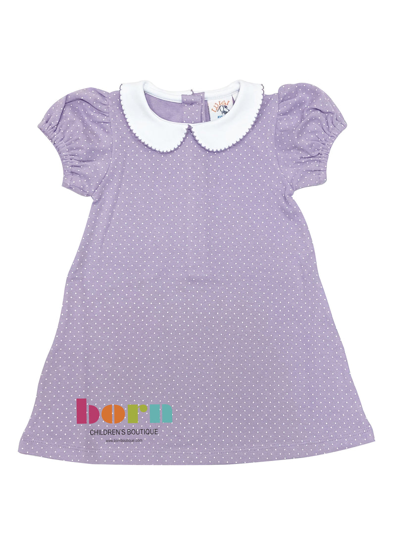 Lavender Dot with White Collar Dress