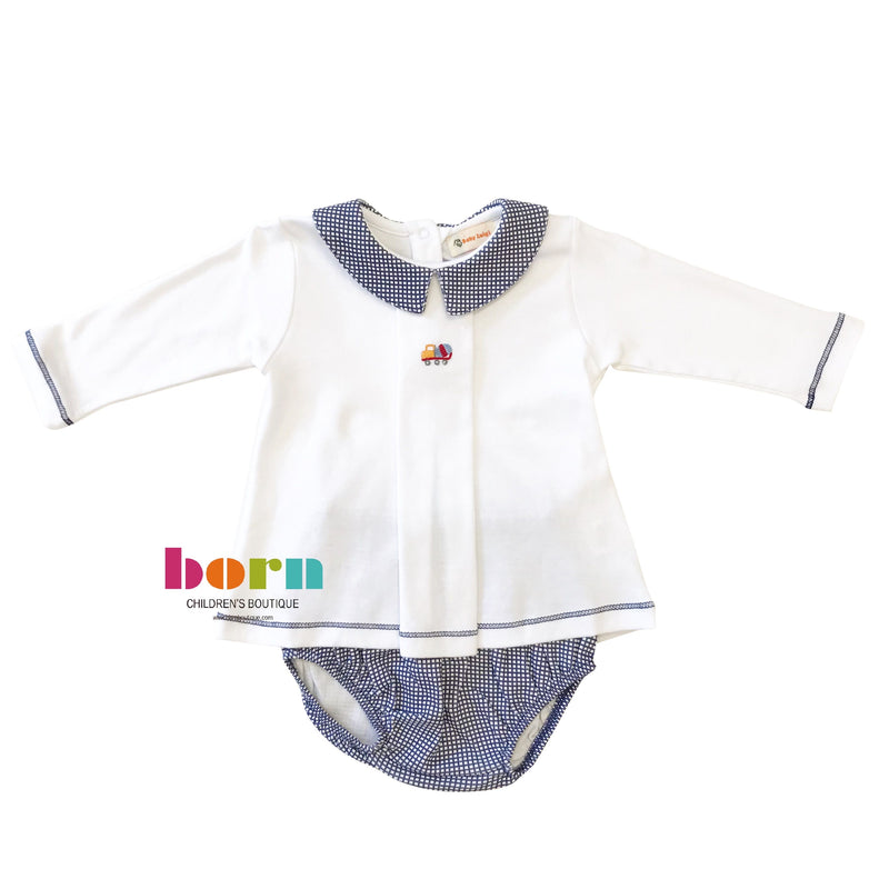Long Sleeve with Navy Gingham Knit Bloomer Set - Cement Truck - Born Childrens Boutique
