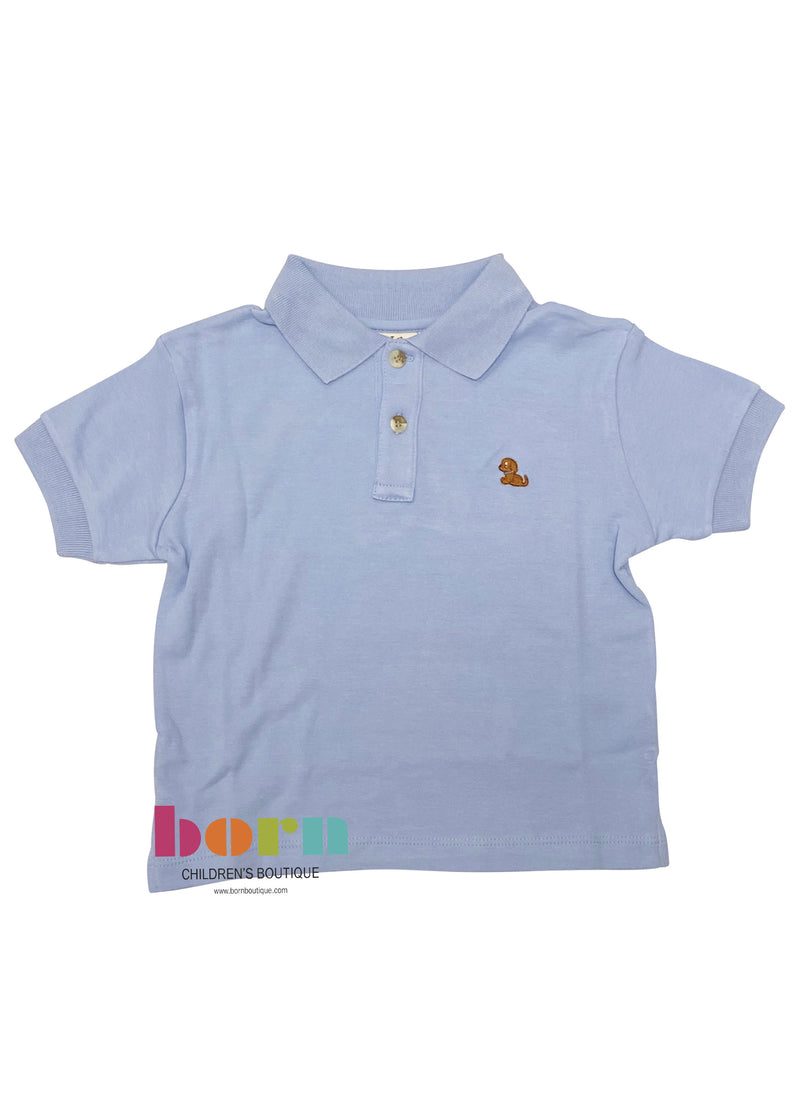 Short Sleeve Polo Sky Blue with Puppy