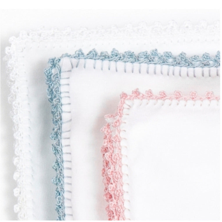 Jersey Blanket White with Pink