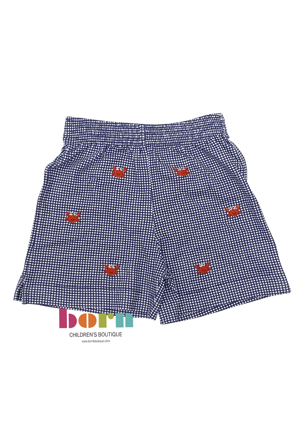 Navy Gingham Shorts with Crab - Born Childrens Boutique