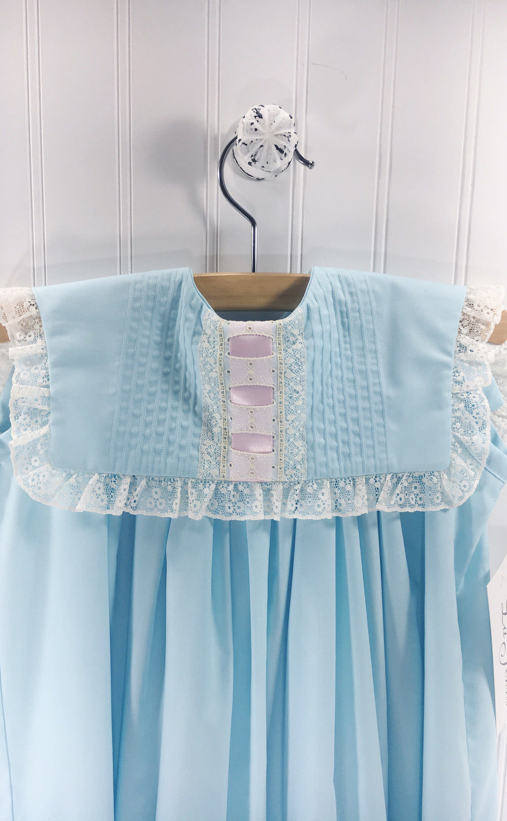 Heirloom Sleeveless Robins Egg Blue Dress with Pink Ribbon