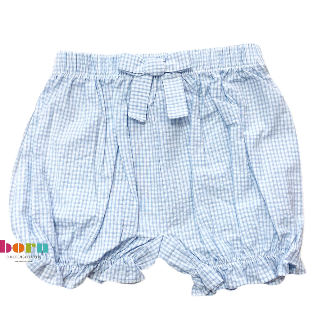 Bow Bloomers - Blue Gingham - Born Childrens Boutique