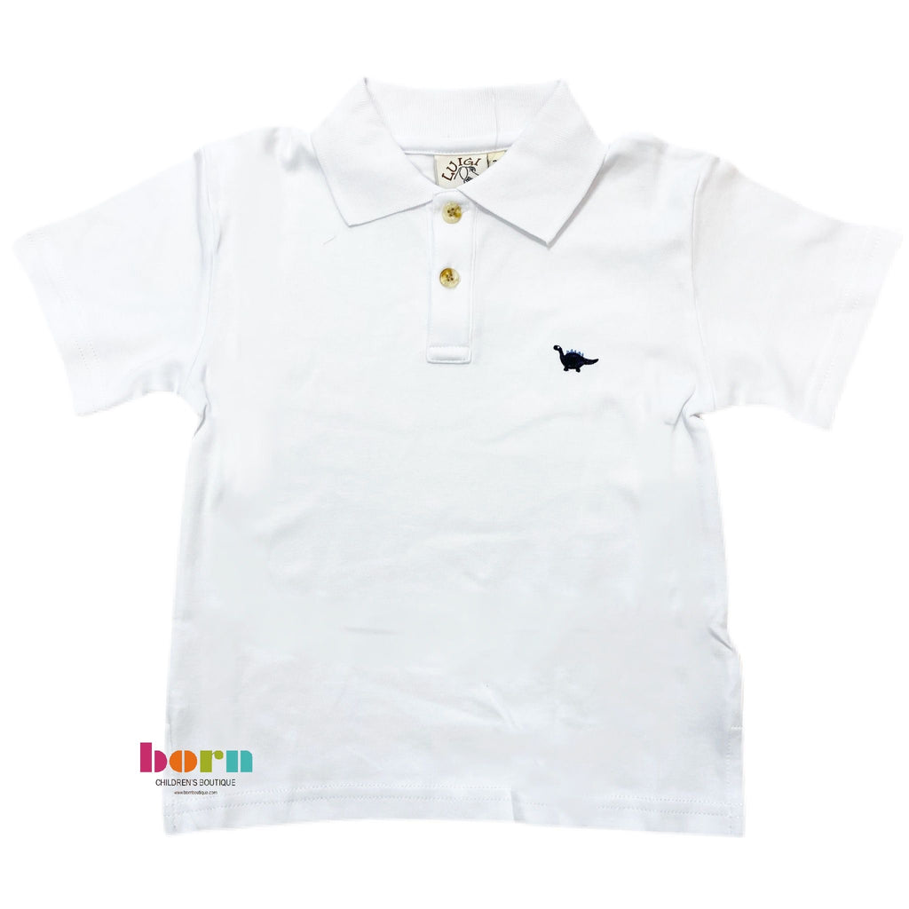 Boy Short Sleeve Polo Brontosaur White - Born Childrens Boutique