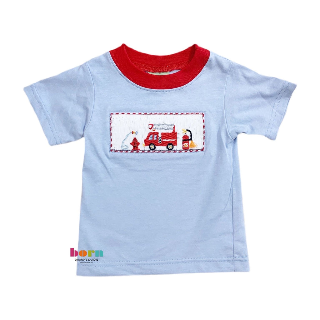 Firetruck - Boy's LT Blue T-Shirt - Born Childrens Boutique