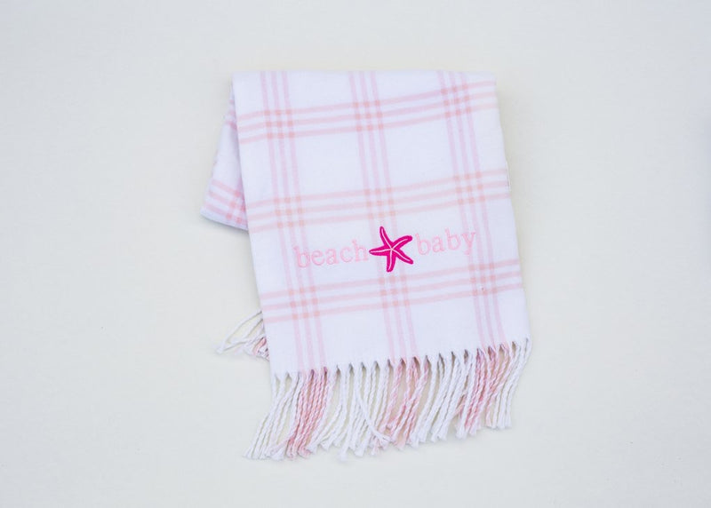 Window Pane Check Flannel Blanket White w/ Pink - Born Childrens Boutique