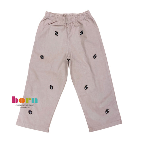 Cord Pant Sand w/ Footballs Embroidery