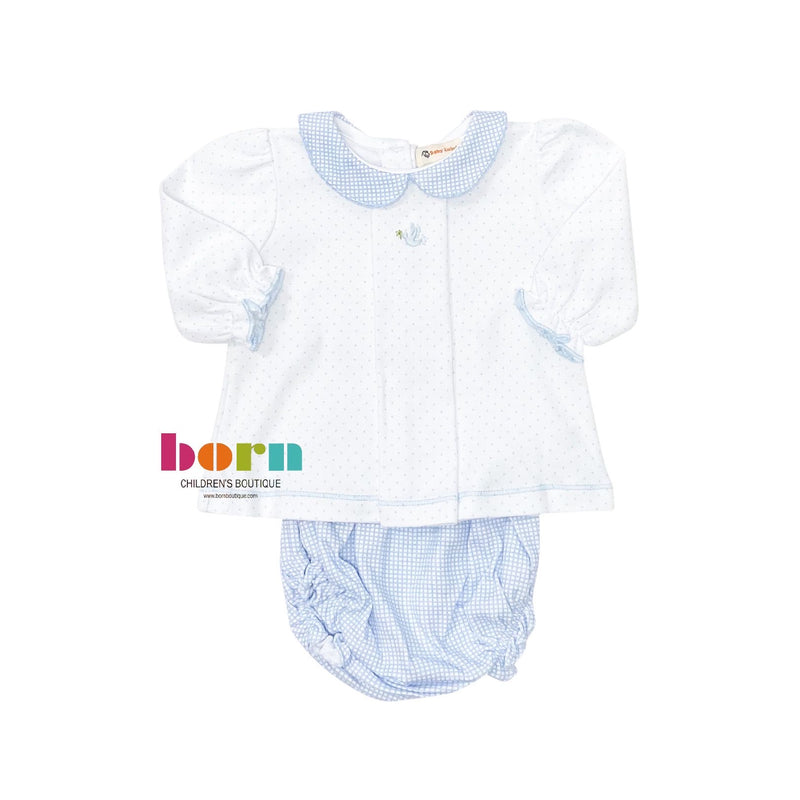 Long Sleeve Blue Dot with Blue Gingham Knit Bloomer Set - Dove