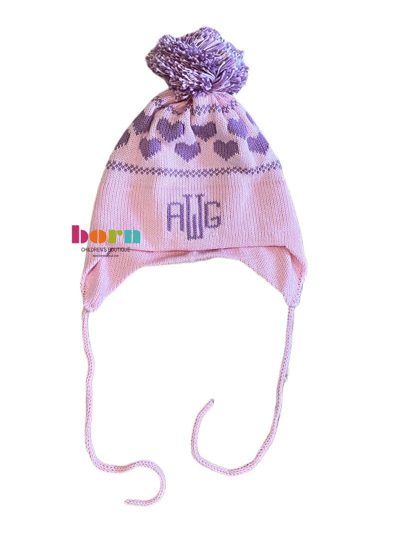 Hearts Knit Earflap Hat