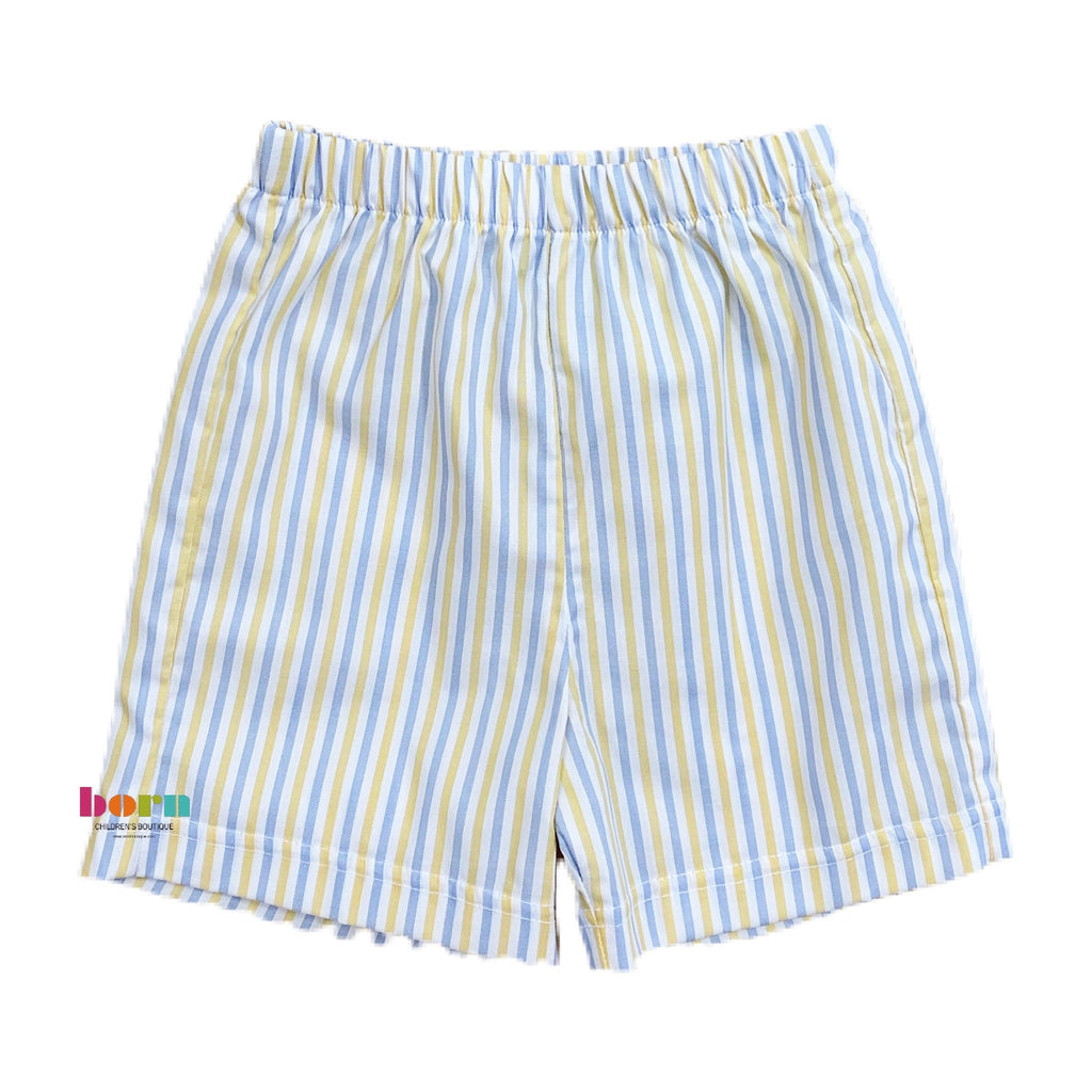 Whale - Boy's Shorts Yellow Stripe - Born Childrens Boutique