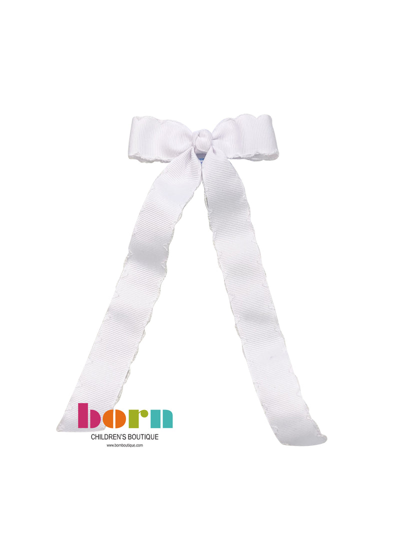 Wee Ones White Moonstitch Bow with Tail - Born Childrens Boutique