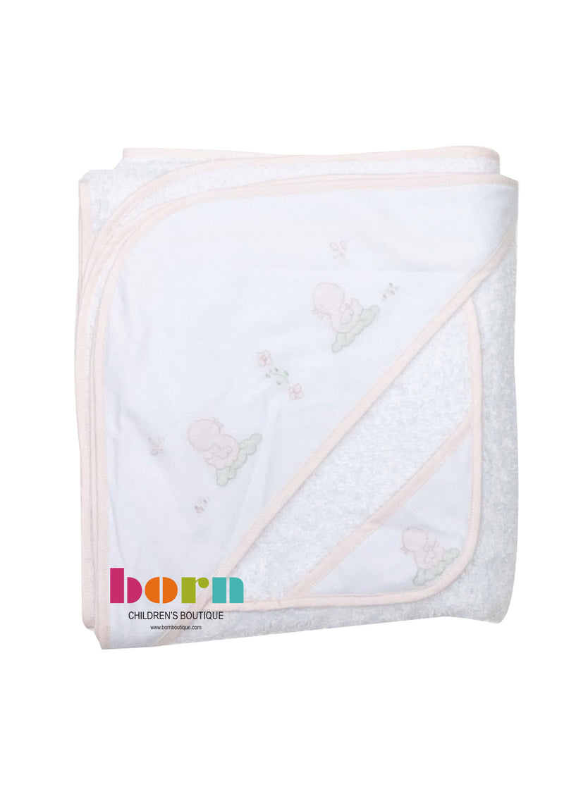Hooded Bath Towel and Wash Cloth Pink Duck