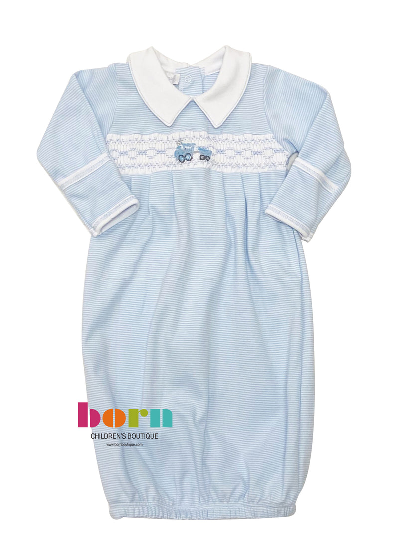Tiny Choo Choo Smocked Collared Pleated Gown - Born Childrens Boutique
