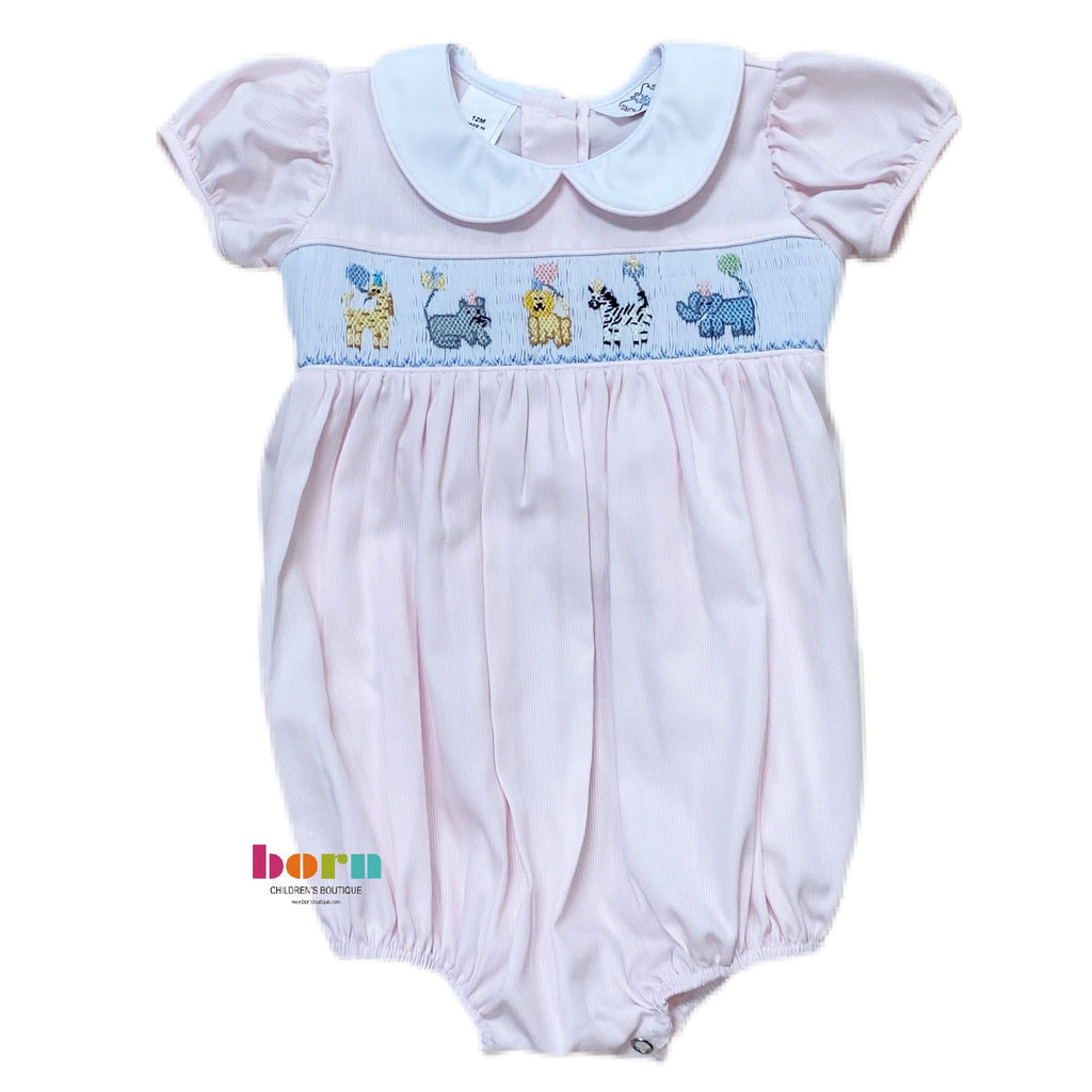Smocked Waist Animal Birthday Bubble - Born Childrens Boutique