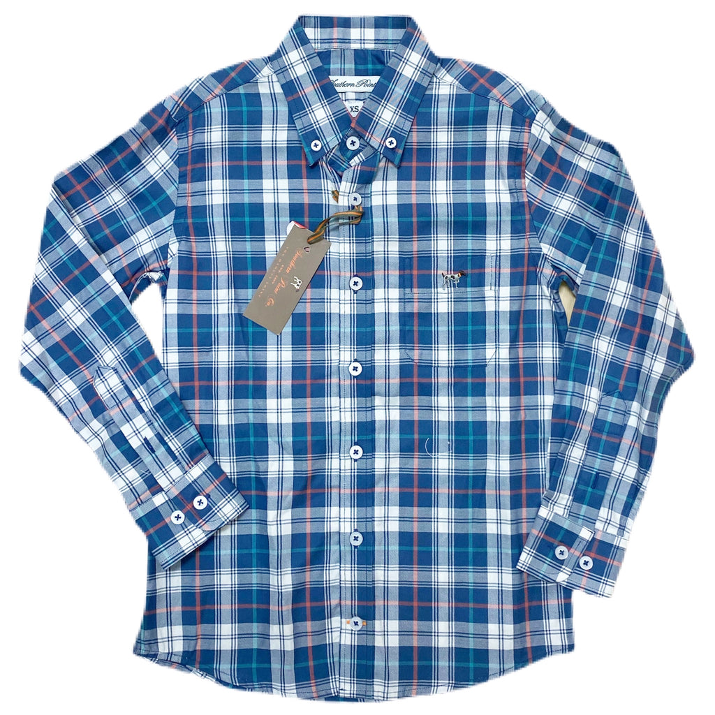 Hadley Button Down Blue Night Plaid - Born Childrens Boutique