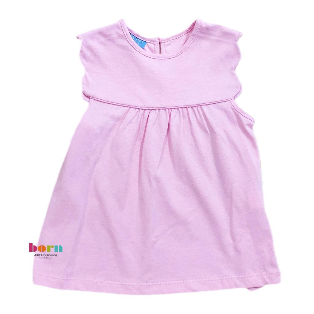 Girl Scallop Sleeve LT Pink T-Shirt - Born Childrens Boutique
