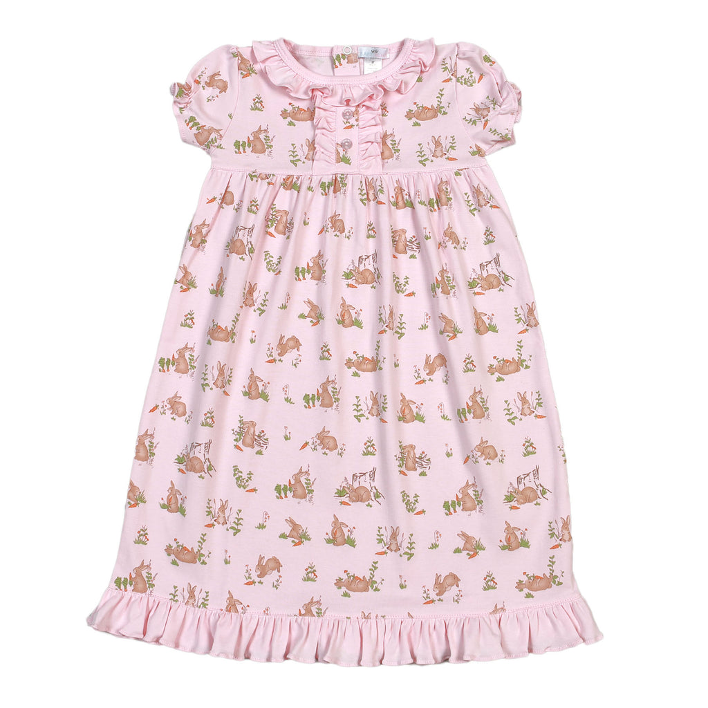 Pink Bunnies Pima Nightgown - Born Childrens Boutique