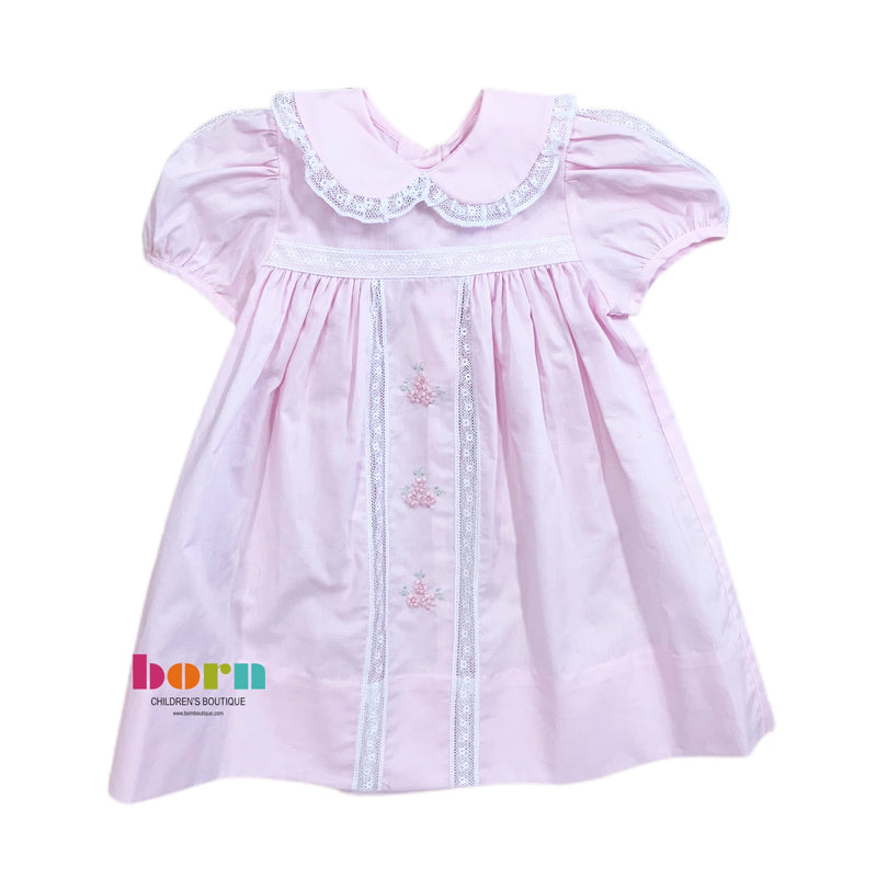 Pink Dress with Lace Pink Satin Flower - Born Childrens Boutique