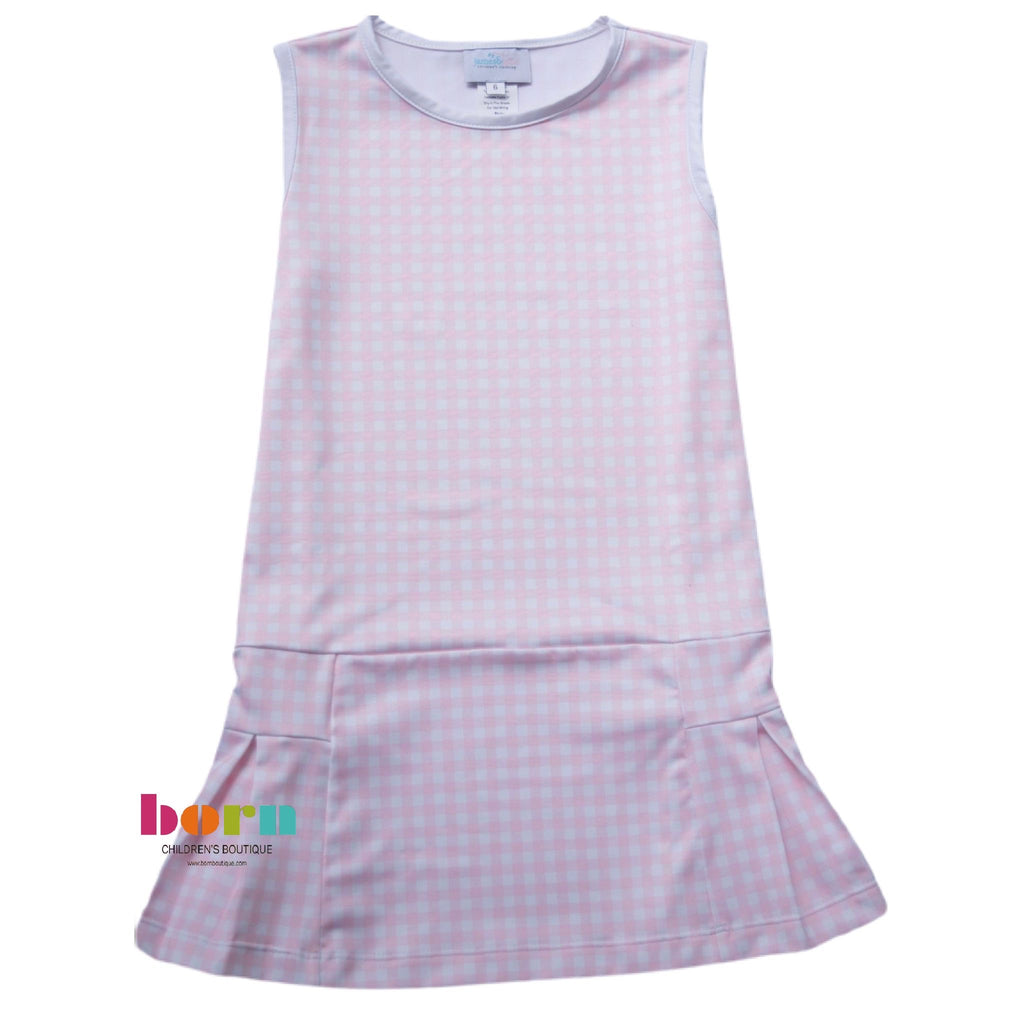 Pre-Order Penny Tennis Dress - Pink Gingham - Born Childrens Boutique