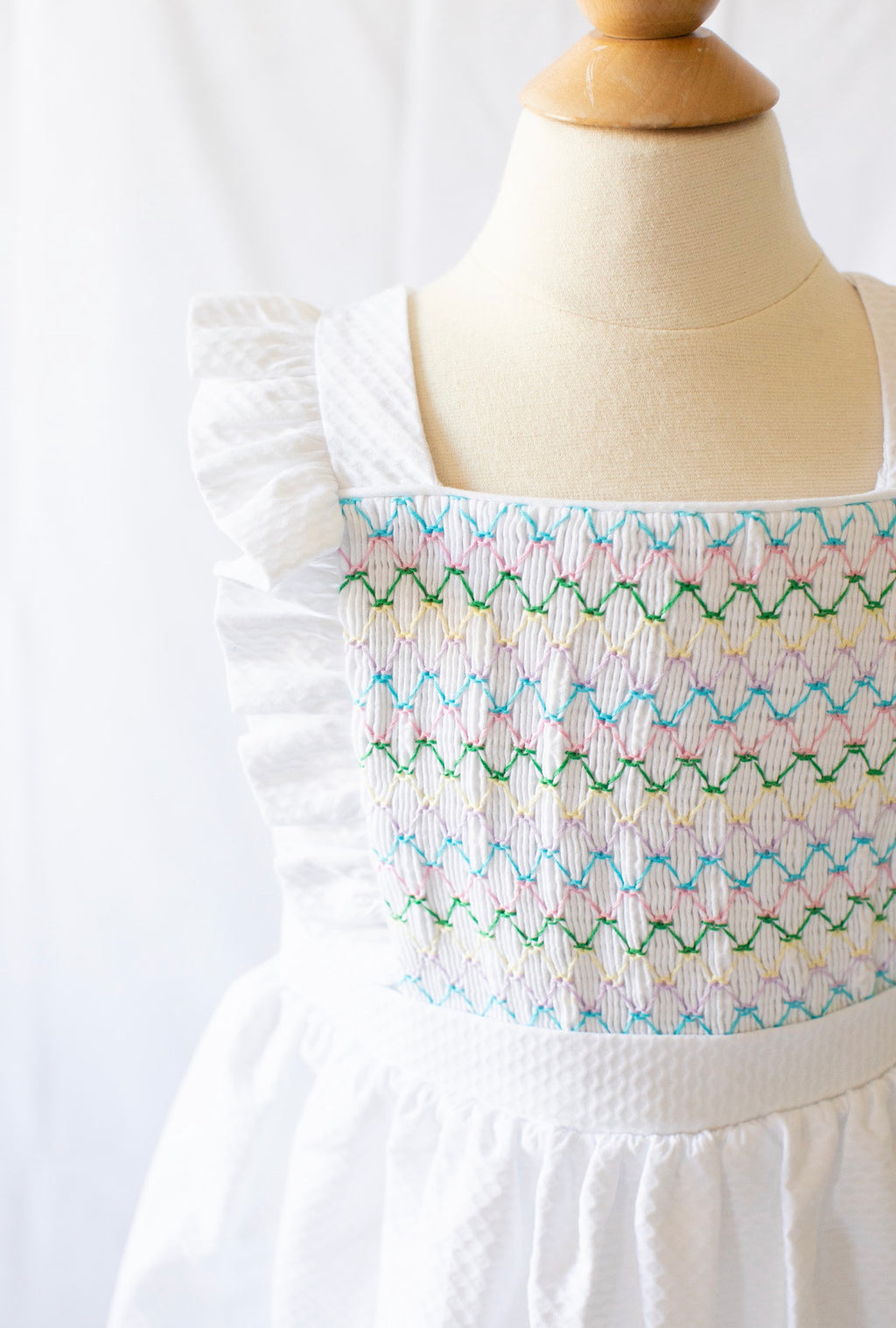 Smocked Edith Dress - White Pique - Born Childrens Boutique